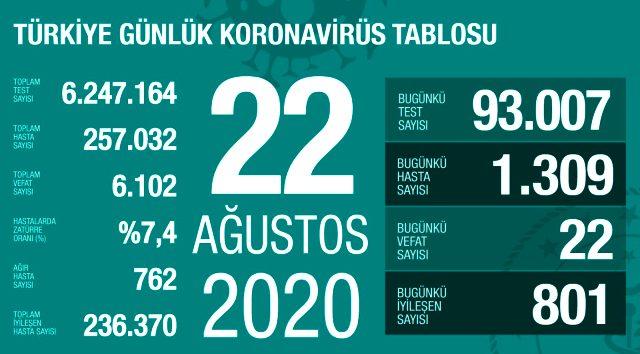 22 Ağustos 2020 Koronavirüs