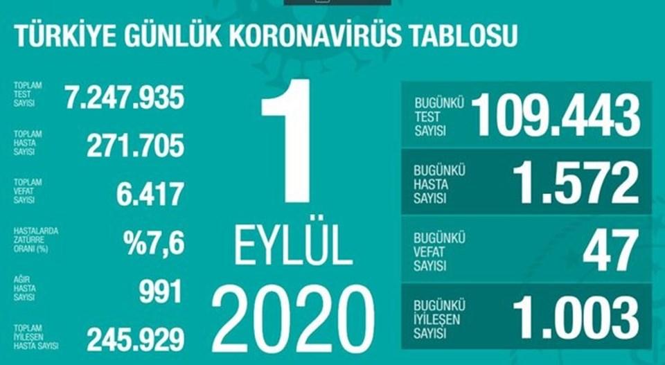 1 Eylül 2020 Koronavirüs Tablosu