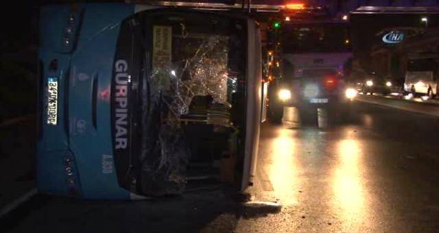 İstanbul'da Feci Kaza! Halk Otobüsü Devrildi: 6 Yaralı