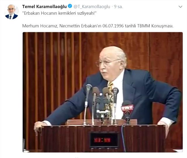 """SP Lideri Karamollaoğlu'nun Paylaşımı Dikkat Çekti: """"Erbakan Hocanın Kemikleri Sızliyeah!"""""""