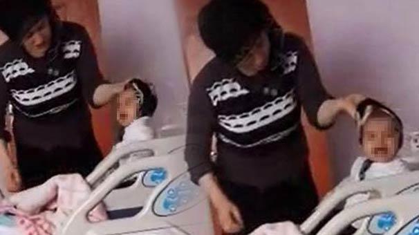 VİDCANSIZ! Hastanede Tedavi Gören 7 Aylık Bebeğini Ağlıyor Diye Dövdü